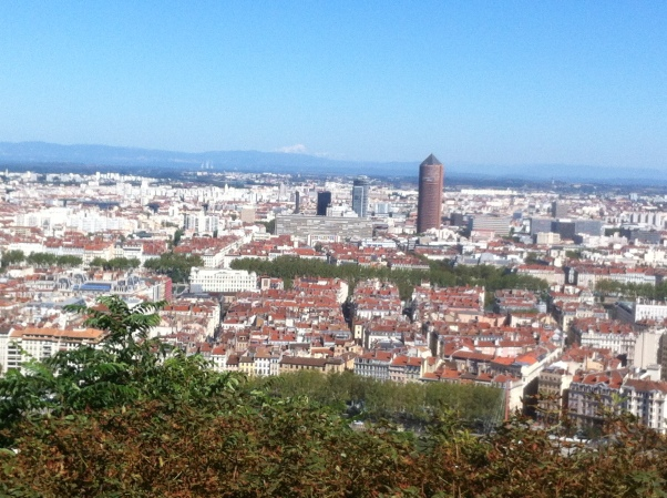 Overlooking Lyon, Mont Blanc in the background