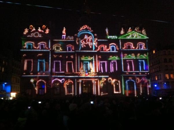 Hôtel de Ville during Fête des Lumières