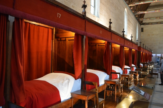 Hospital beds in the huge hall